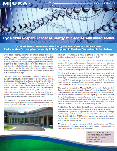 Bryce State Hospital Nearly Halves Gas Use With Miura Boilers