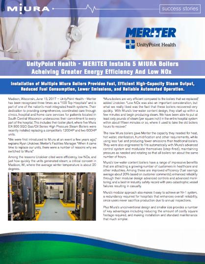 UnityPoint Health-Meriter Chooses Miura Boilers